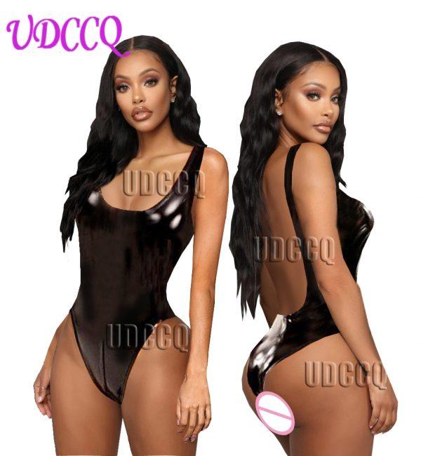 HOT Latex Sleeveless Leather Dresses Cat Costume Erotic Catsuit