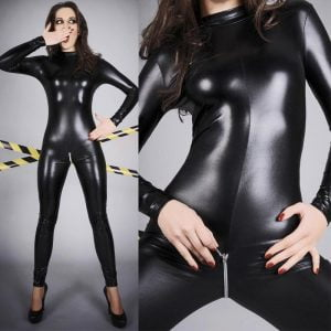 Plus Size Lingerie Leather PU jumpsuit