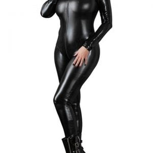 Sexy Lingerie Black Female Faux Leather Catsuit PVC Latex Bodysuit