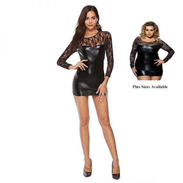 Leather Lingerie Bodysuits Leotard Costumes Rubber Flexible Babydoll Lace