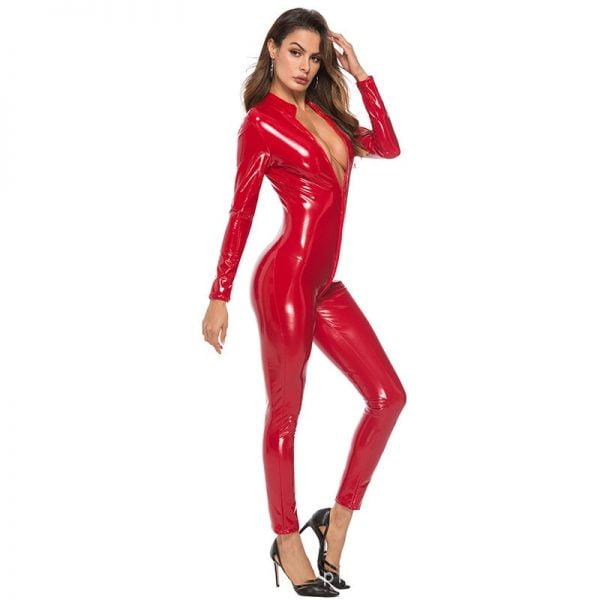 Body Suit Sexy Latex Bodysuit Double Zipper Open Crotch Nightclub