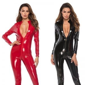 Body Suit Sexy Latex Bodysuit Double Zipper Open Crotch Nightclub