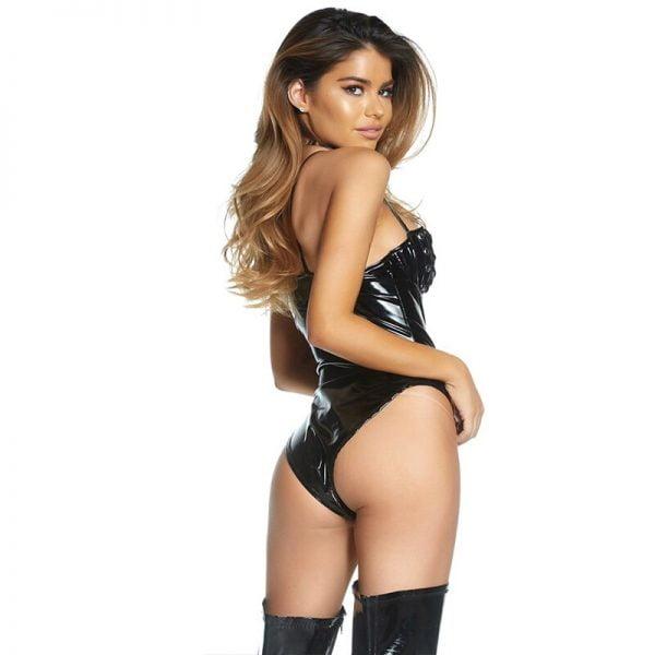Sexy Wetlook Bodysuit Lingerie Black Open Bust