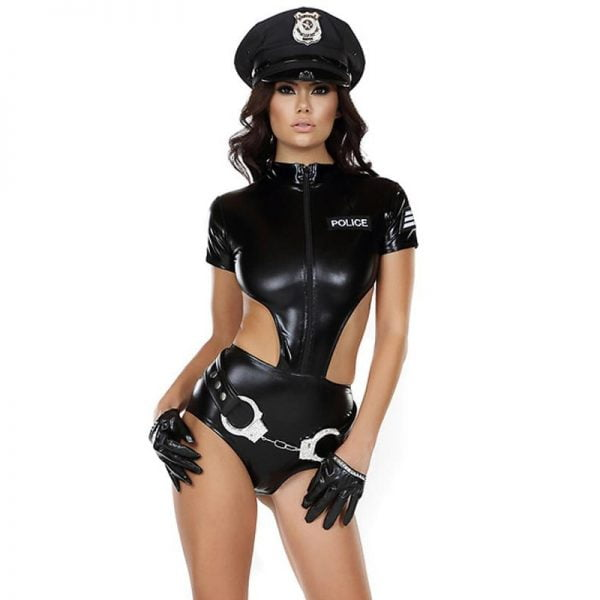 Sexy Faux Leather Women Police Costumes