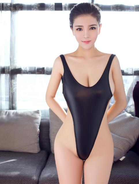 Sexy Backless Faux Leather Shiny High Cut Bodysuit