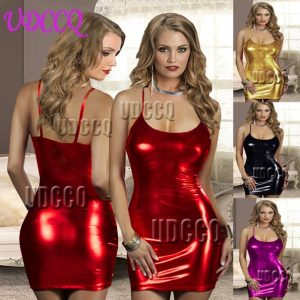 Faux Leather Underwear Babydoll Lingerie Sheer Dress