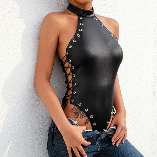 Leather Bodysuit Women Rivet Blackless Tight Halter Sleeveless Underwear