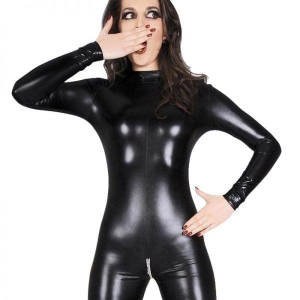 Plus Size Lingerie Leather PU jumpsuit